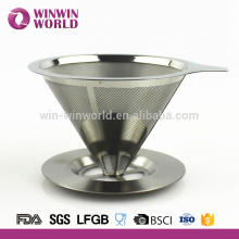 New Design Stainless Steel Pour Over Coffee Maker 2 Cup With Filter Cone and Holder